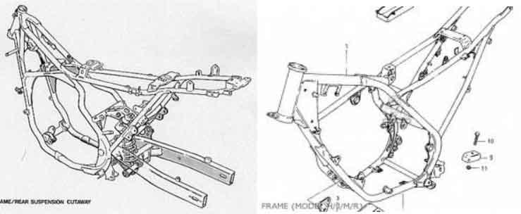 rangka motor double crade frame